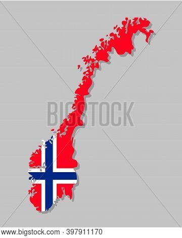 Norwegian Flag On The Map. High Detailed Norway Map With Flag Inside. European Country Borders Vecto