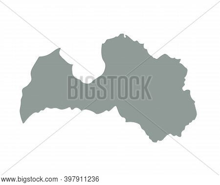 Latvia Blank Map Silhouette. High Detailed Editable Gray Map Of Latvia. European Country Borders Vec