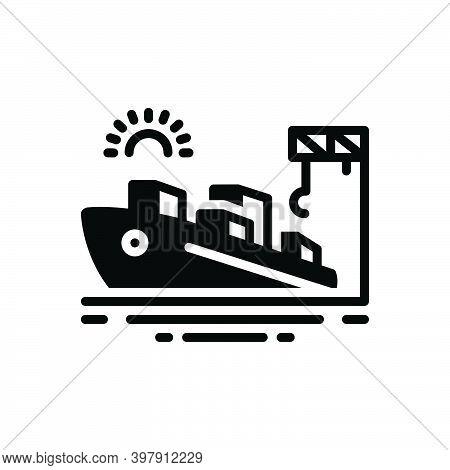 Black Solid Icon For Port Seaport Harbor Wharf Dockyard Ship Cargo Maritime Terminal