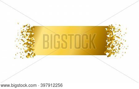 Exploding Rectangle With Debris. Isolated Gold Rectangle On White Background. Concept, Template For