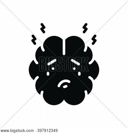 Black Solid Icon For Anxiety Concern Worriment Angst Disquiet Nervousness Panic Trouble