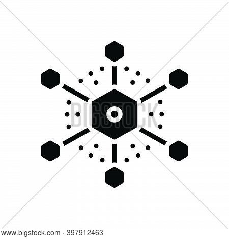 Black Solid Icon For Connection Link Bond Join Attachment Network Relation Contact Hub Diagram Inter