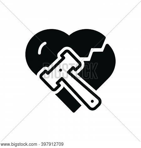 Black Solid Icon For Divorce Breakup Separation Hammer Justice Divorcement Heart Annulment Emotional