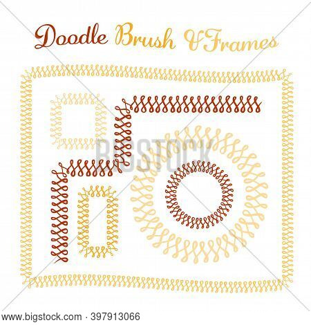 Vector Round And Square Frames And Hand Drawn Brush For Them. Vector Isolated Illustration. Brush Is