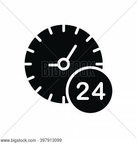 Black Solid Icon For Any All Each Several Hour Twenty-four-hours Clock Time Day Service Helpline Sig