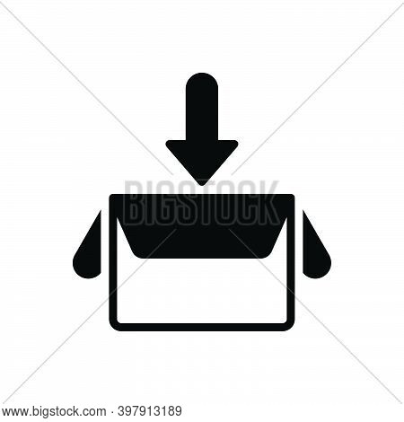Black Solid Icon For Collect Box Gather Save Contribution Amass Assemble Compile