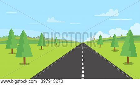 Street With Nature Landscape Backgroud Vector Illustration.countryside With Field ,forest,  Hills ,