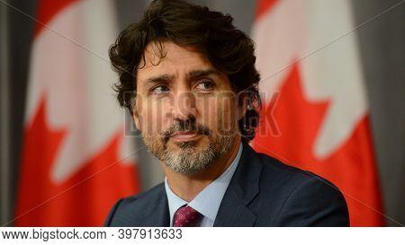 Ottawa, Canada, October 2020, Canada Prime Minister Justin Trudeau In Press Meet