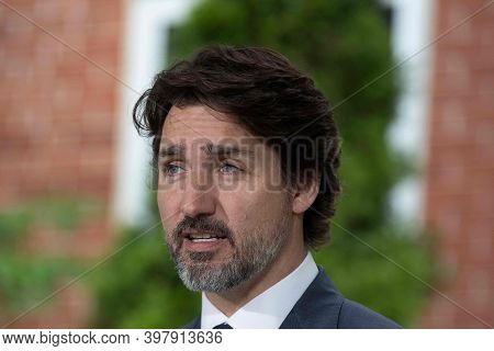 Ottawa, Canada, October 2020, Canada Prime Minister Justin Trudeau Talking