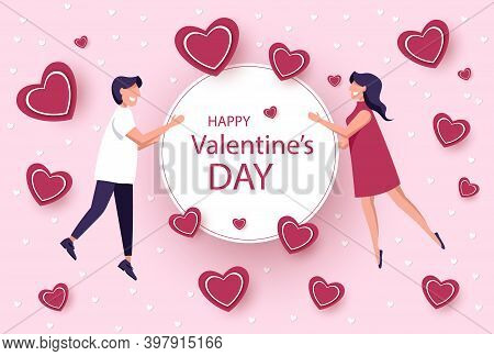 Valentines day illustration of a couple. Love concept, Valentines day background. Wallpaper.  Happy Valentines Day card with hearts, cupids and place for your text vector illustration. Valentines day background. Valentine, valentine day, Valentines Day ba