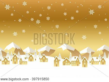 Seamless Gold Vector Winter Townscape Illustration With Text Space. Horizontally Repeatable.