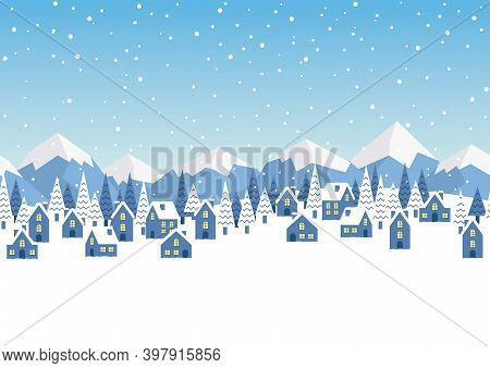 Seamless Vector Winter Townscape Illustration With Text Space. Horizontally Repeatable.