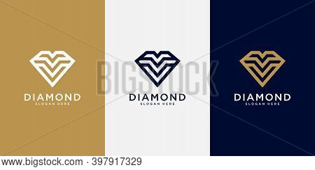 Diamond Logo Vector Designs Mono Line Logo Premium
