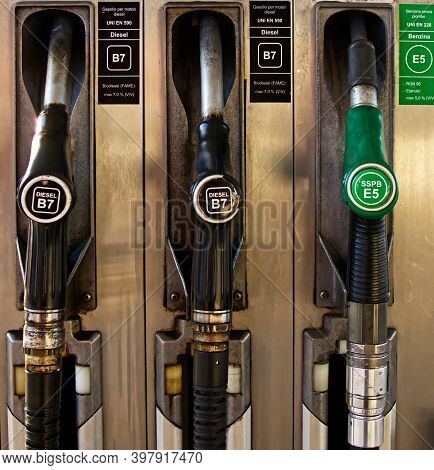 Fuel Pumps At The Petrol Station. European Pump Filling, Petrol And Diesel. Italy