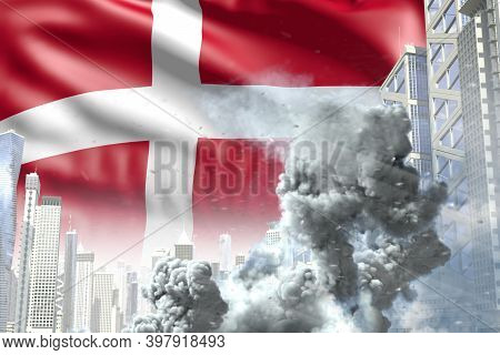 Big Smoke Column In Abstract City - Concept Of Industrial Disaster Or Terrorist Act On Denmark Flag