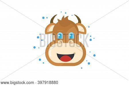 Cartoon Bull. Symbol Of 2021 On The Eastern Calendar. Vector Illustration