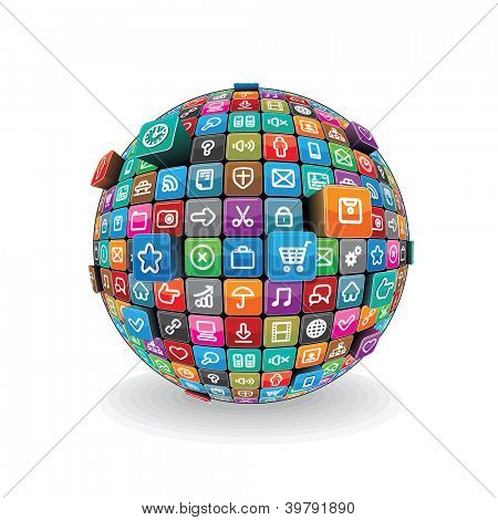 Globe made from a Different Social Media, Computer Icons. Vector Technology Concept isolated on White Background.