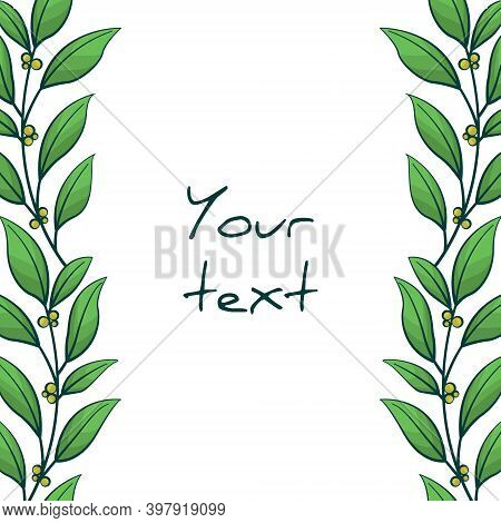 Vertical Foliate Borders; Twigs With Green Leaves And Yellow Berries; For Greeting Cards, Invitation