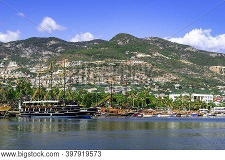 Turkey, Alanya - October 22, 2020: Alanya Coastline With Moored Ships And Sign I Love Alanya On The