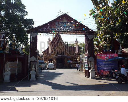 Chiang Mai, Thailand, December 6, 2018: Main Entrance Of Wat Sri Suphan, Chiang Mai Silver Temple