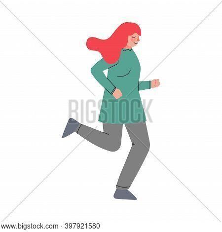 Woman Character Running In A Hurry And Hasten Somewhere Vector Illustration