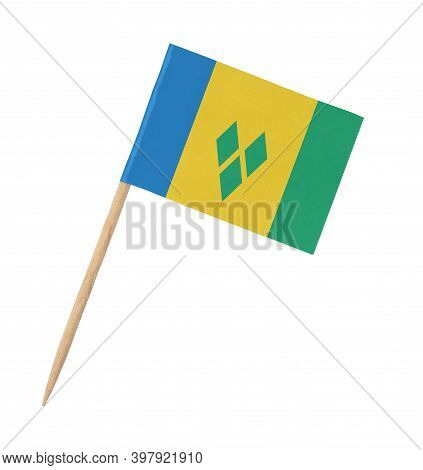 Small Paper Flag Of Saint Vincent And The Grenadines On Wooden Stick, Isolated On White