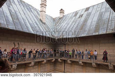 Hrad Houska, Czech Republic On July 11, 2020: Tour In Hrad Houska, Tourists Visiting, Czech Republic