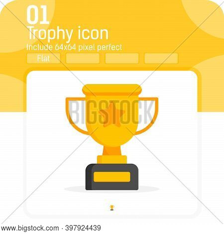 Trophy Cup Icon Vector With Flat Style Isolated On White Background. Vector Illustration Trophy Obje