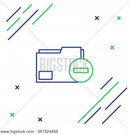 Line Document Folder With Minus Icon Isolated On White Background. Clear Document. Remove File Docum