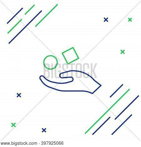 Line Cube Levitating Above Hand Icon Isolated On White Background. Levitation Symbol. Colorful Outli