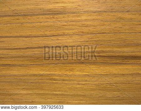 Natural Dark Burma Teak Wood Veneer Close Up Image. Natural Textured Slices Of Wood.
