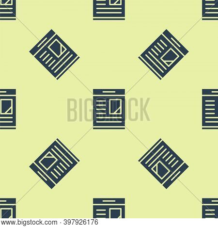 Blue Newspaper Advertisement Displaying Obituaries Icon Isolated Seamless Pattern On Yellow Backgrou