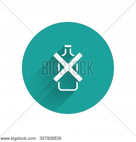 White No Alcohol Icon Isolated With Long Shadow. Prohibiting Alcohol Beverages. Forbidden Symbol Wit