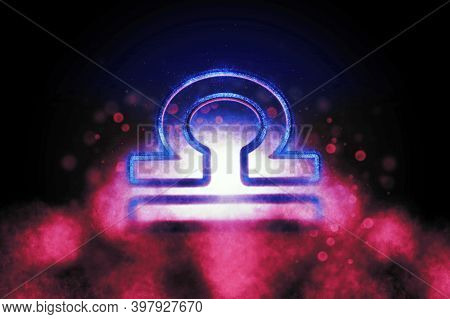Libra Zodiac Sign, Night Sky,horoscope Astrology Background,libra Horoscope Symbol, Pink And Blue