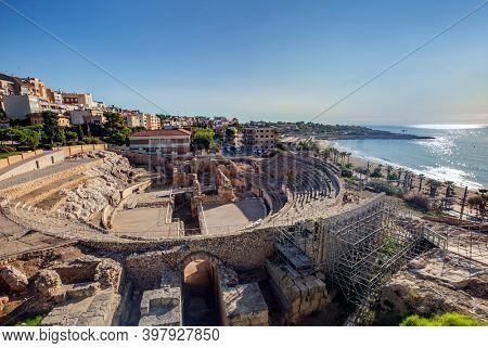 Tarragona, Spain - Sep 20 2020: Amphitheater in Tarragona, roman ruins