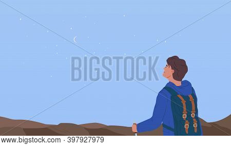 Dreamy Hiker Contemplating Starry Breathtaking Sky Horizon. Concept Of Exploration, Observation And