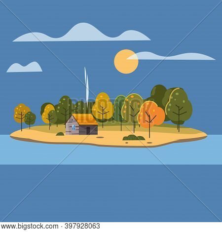 Beautiful Island Landscape View On River Or Lake, Autumn. Forest Lonely House. Vector Illustration B