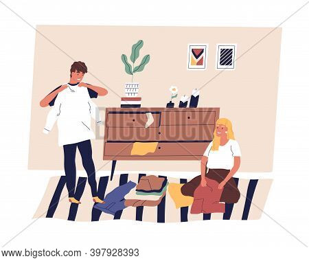 Family Couple Sorting, Folding And Organizing Clothes. Scene Of Husband And Wife Doing Cleanup Or Ho