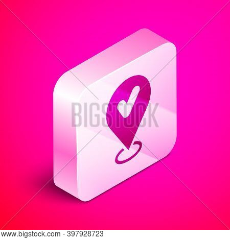 Isometric Map Pin With Check Mark Icon Isolated On Pink Background. Navigation, Pointer, Location, M