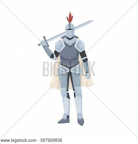 Medieval Knight Standing In Armor, Cloak And Helmet With Red Feather. Warrior Of Middle Ages Holding