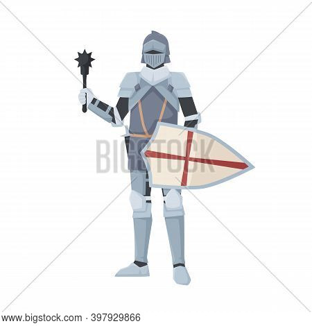 Medieval Knight Standing In Armor Holding Shield And Club Weapon. Armored Warrior Of Middle Ages Wit