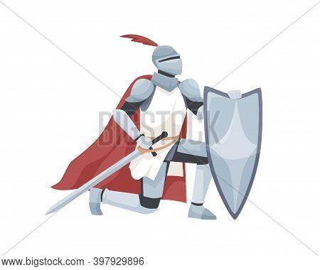 Knight In Armor And Red Cloak Holding Shield And Sword And Giving Oath On His Knee. Medieval Warrior