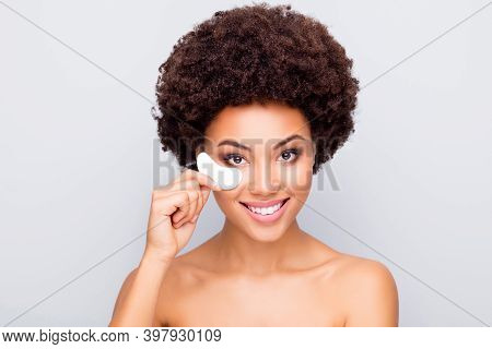 Close-up Portrait Of Her She Nice-looking Attractive Cheerful Cheery Nude Wavy-haired Girl Using Und
