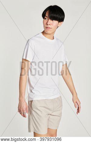 Men's white tee beige shorts mockup