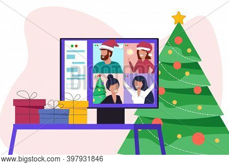 Video conference with people group in winter costumes, meeting online. Friends talking on video and celebrating Christmas. New normal and covid-19 concept. Merry Christmas card. Merry Christmas card vector Illustration.Christmas. Christmas Vector. Christm
