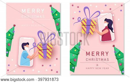 Party online, video call. Friends celebrate Christmas and New Year online using mobile phones. Christmas new normal concept with coronavirus. Merry Christmas card. Merry Christmas card vector Illustration.Christmas. Christmas Vector. Christmas Background.