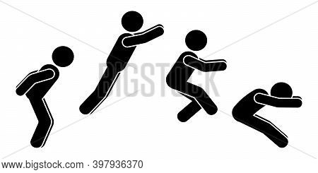 Standing Long Jump Position Stick Figure Sportsman Vector Icon Illustration Set. Leap Sequence Move