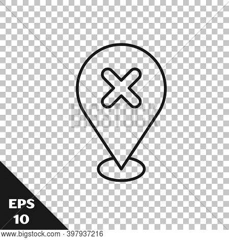 Black Line Map Pin With Cross Mark Icon Isolated On Transparent Background. Navigation, Pointer, Loc
