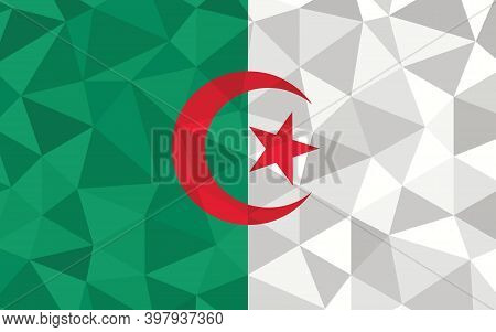 Low Poly Algeria Flag Vector Illustration. Triangular Algerian Flag Graphic. Algeria Country Flag Is