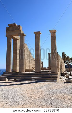 Facade Of Doric Temple Of Athena Lindia